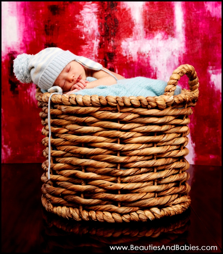 tiny newborn baby sleeping in basket professional photography Los Angeles