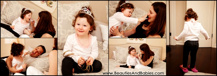 child playing dress up with jewelry and makeup Los Angeles photographer