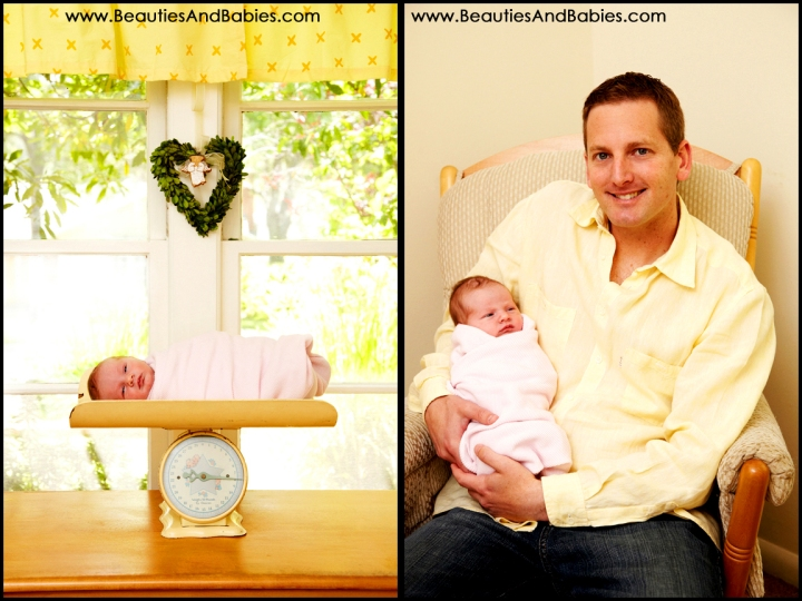 father holding newborn baby professional photography