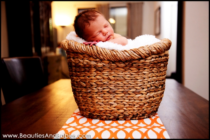 sleeping newborn baby in basket Los Angeles professional photographer