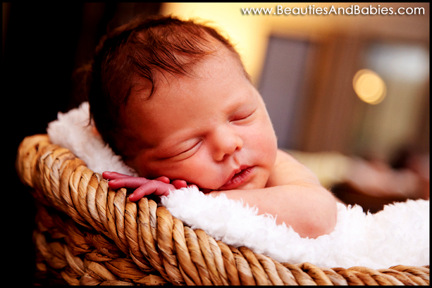 newborn baby in basket professional photography Los Angeles