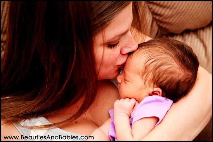 sleeping newborn with mother Los Angeles photography studio