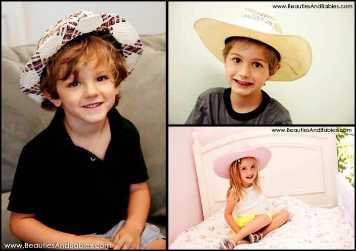 children wearing hats professional photography Los Angeles