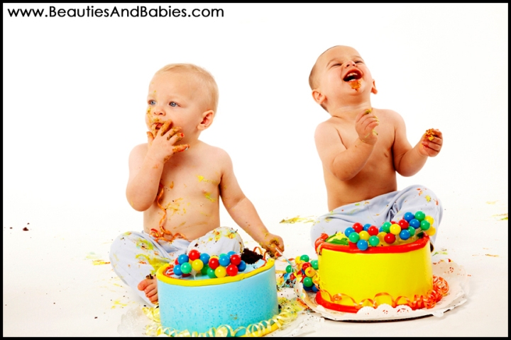 birthday boys cake smash twins photography