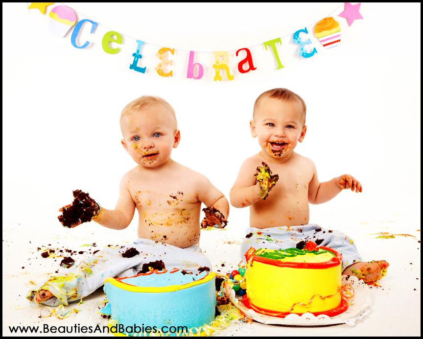 First Birthday Twins Cake