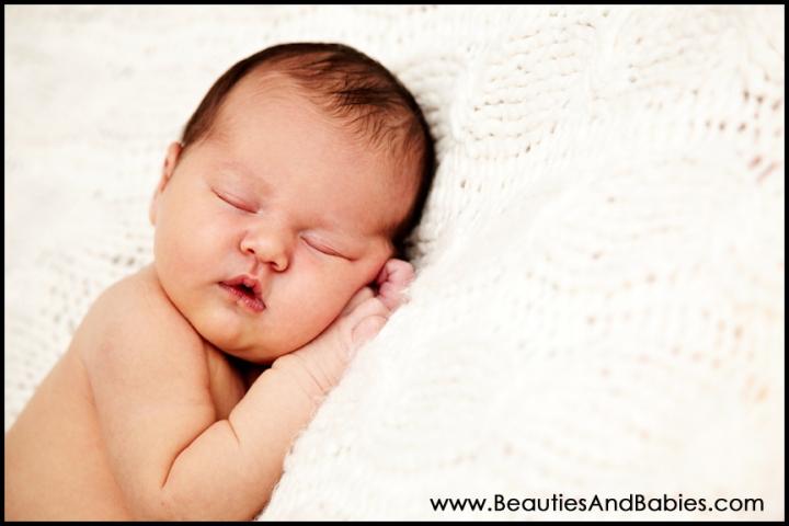 sleeping newborn baby girl in studio Los Angeles photography