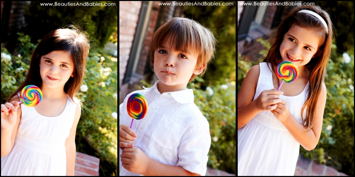 kids eating lollipops professional photography