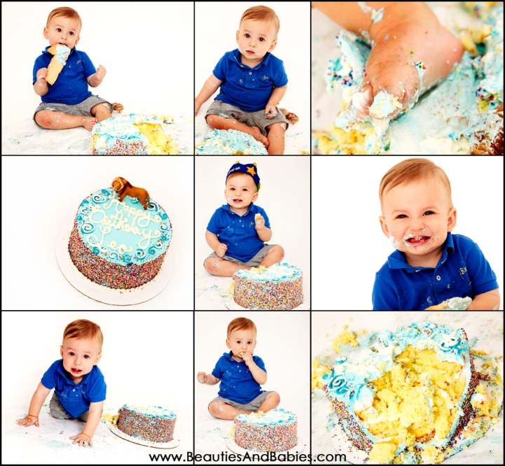 one year old boy eating birthday cake professional photography Los Angeles