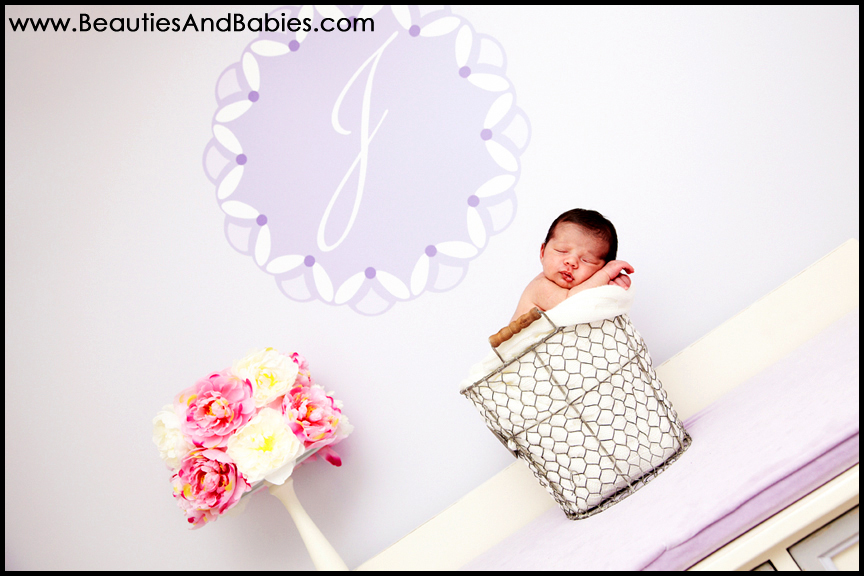 newborn baby sleeping in basket Los Angeles creative photography