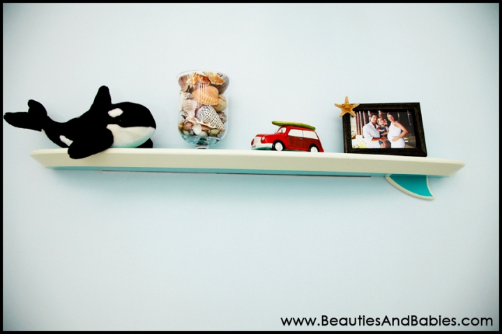 surfboard shelf beach theme baby room
