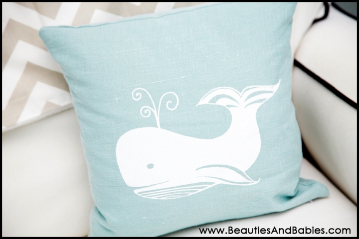 beach themed nursery decor whale pillow