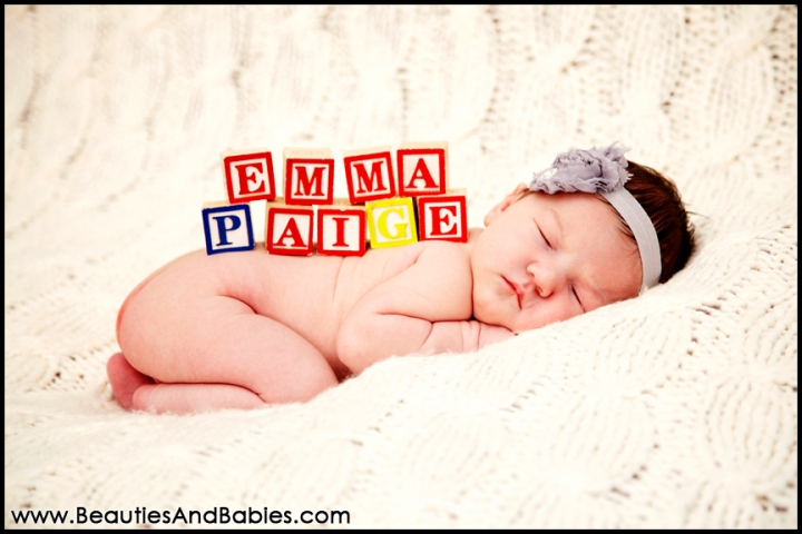 newborn baby sleeping with baby blocks creative newborn baby photography Los Angeles