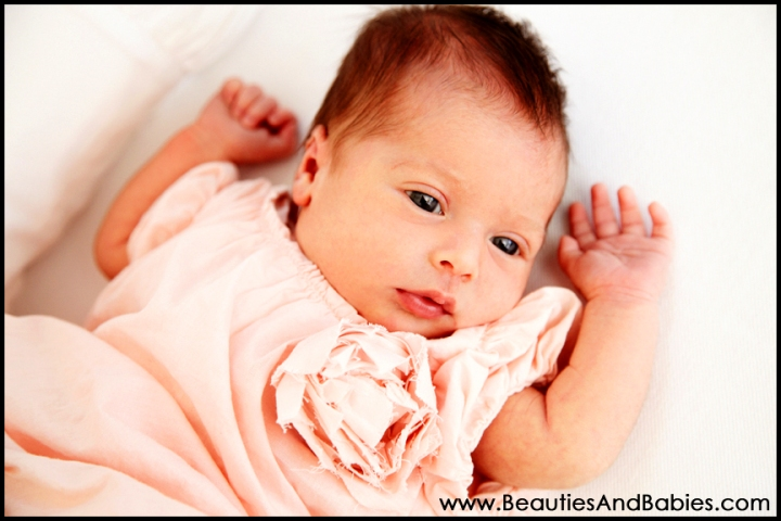 Los Angeles newborn baby girl photography at home