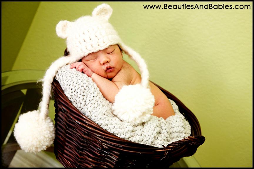 newborn baby boy sleeping in basket professional photography
