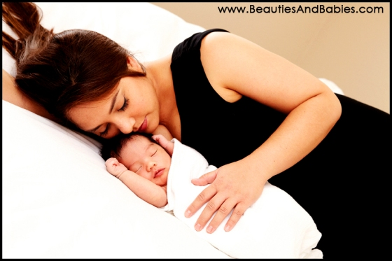 mother and newborn baby boy professional photography