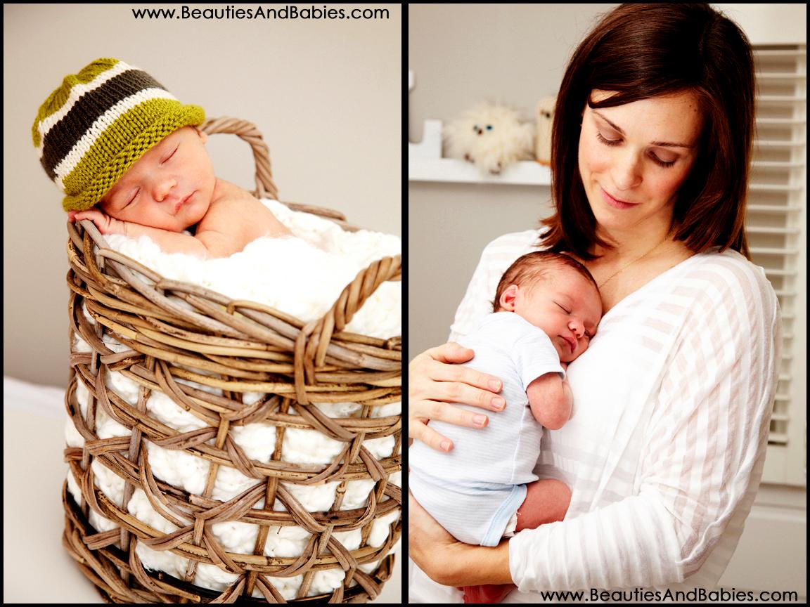 newborn baby sleeping in basket professional newborn photographer