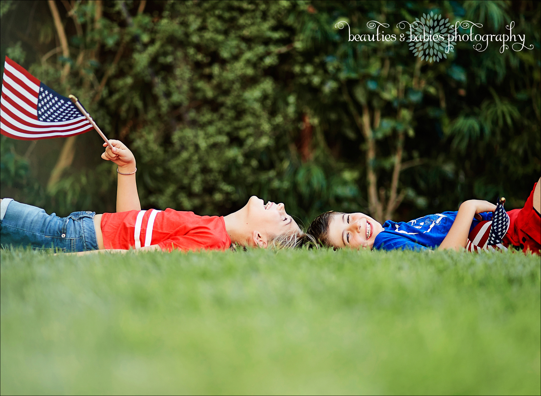 Fourth of July flags kids photography Los Angeles children's photographer