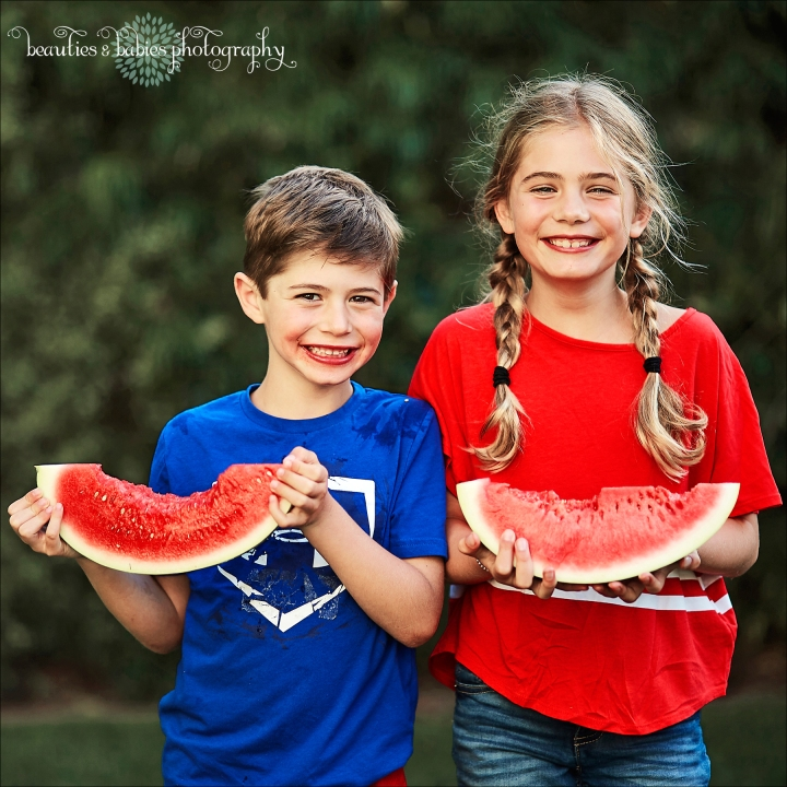 Fourth of July kids eating watermelon photography Los Angeles children's photographer