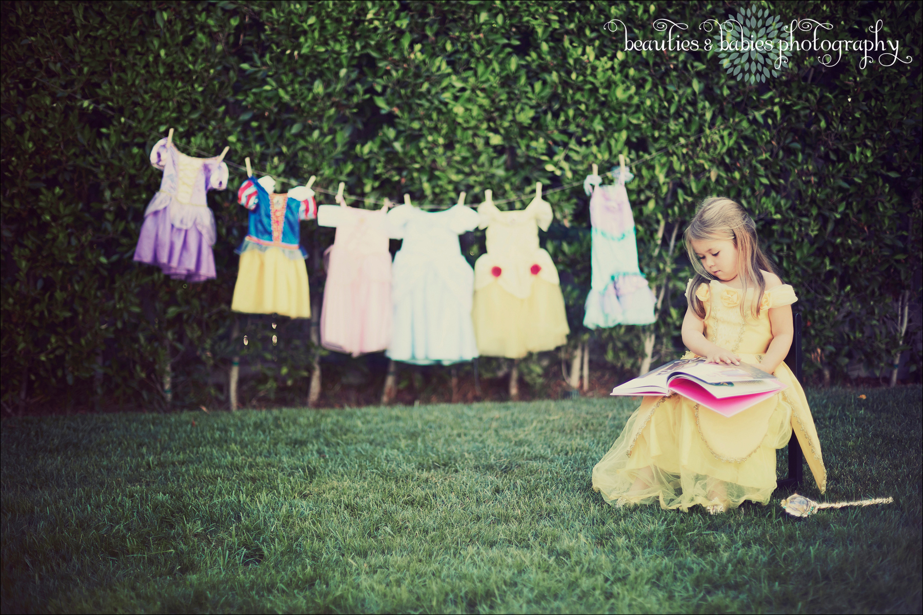 creative child photography dress-up princess laundry line pictures Los Angeles photographer